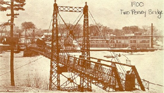 The country's only toll footbridge, about 1900