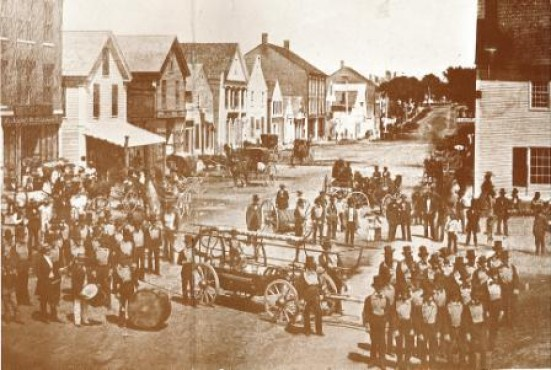 Main Street at the Common (Castonguay Sq.), looking north, 1855