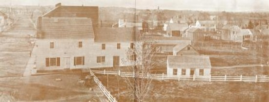 Main Street looking North from the Common, about 1860.