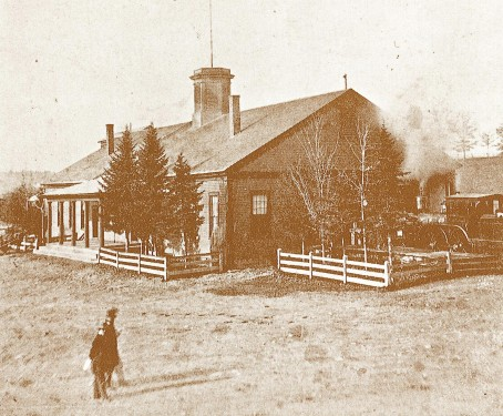 Depot of Somerset & Kennebec Railroad, on Front St. at the foot of Temple St., about 1875