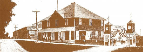 Entrance to the Central Maine Fairgrounds, about 1920.  (present Seton hospital location)