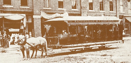 Horse Car No. 1 of the Waterville & Fairfield Railroad Co. about 1888