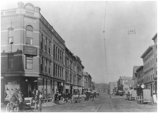 Downtown Waterville early 1900, trolley tracks can be seen on the cobblestone street