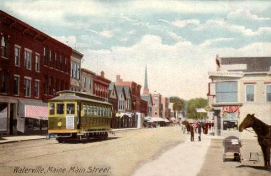 Electric Trolley in Downtown Waterville early 1900's as shown on a postcard.