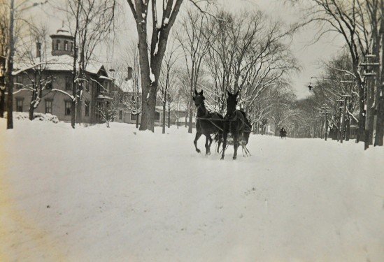 Horse-drawn sleigh on Silver Street, approx. 1870-1875.