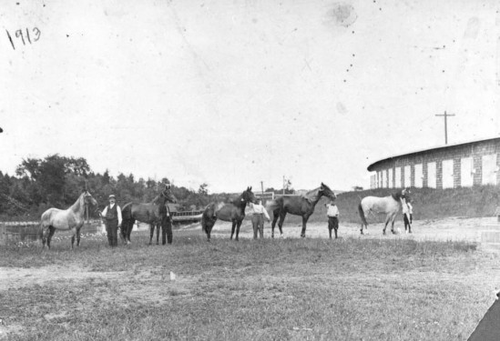1913 Charles Pomerleau at the fair ground in Waterville, Maine