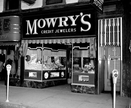 Mowry's Credit Jewelers and entrance to the Kennebec Hotel