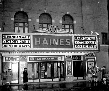 The Haines Theatre was formerly located across from the Waterville Savings Bank building, downtown.