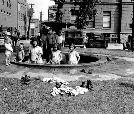 Children playing in the fountain, Castonguay Square, f/k/a The Common