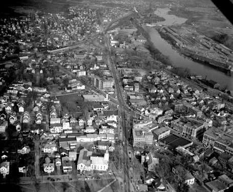 Aerial photo showing intersection of Main and Elm Streets and College Ave. 1950's