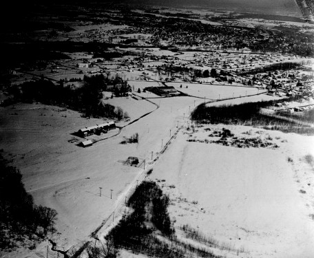 Aerial view of Mt. Merici Barn, Chase Ave, 1960's