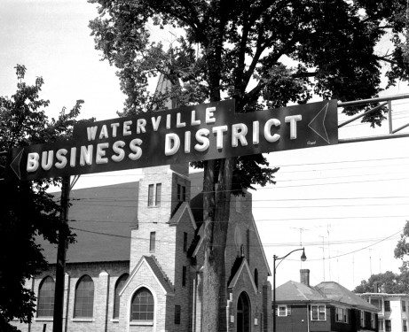 Waterville Business District Sign over Main Street