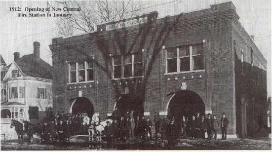 Central Fire Station surrounded by Elm Trees